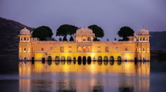 Rajasthan landmark - Jal Mahal (Water Palace) on Man Sagar Lake in the evening Stock Footage