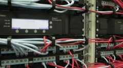 server cabinets many wires 03 - stock footage