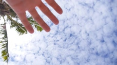 Hand of a Man Reaching to Towards Sky. Stock Footage