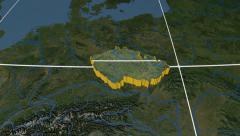 Czech Republic extruded. Blue Marble. Graticule. Stock Footage