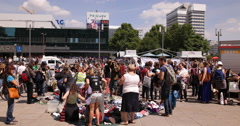 Berlin Alexanderplatz Second Hand Clothes Market People Buyer Crowd Shoppers Day Stock Footage