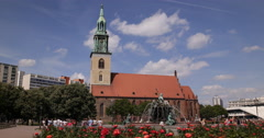 Establishing Shot Central Berlin Sights Mary Church Marienkirche People Walk Day Stock Footage
