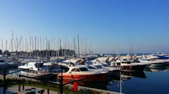 4K, Luxurious yachts and sailboats, docked in the marina, 3840x2160, 2160p Stock Footage