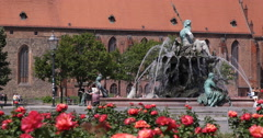 Saint Mary Church Berlin Landmark People Walking Visit Neptune Fountain Park Day Stock Footage