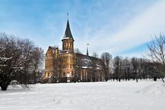 cathedral of koenigsberg in winter. kaliningrad (until 1946 koenigsberg), rus - stock photo
