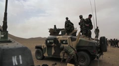 Afghan Soldier Shooting Training Jeep - stock footage