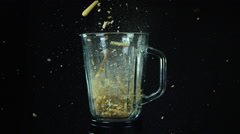 Blender with High Speed Falling Bread Sticks - stock footage