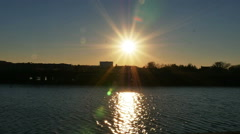 2612 Sunset Over Water and a Bridge in Slow Motion Stock Footage