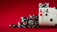 Stock Video Footage of chips and two aces