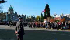 4K Wide Angle, Crowd and Canadian Soldier, Government Buildings Stock Footage