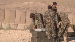 Afghan Soldiers Pack Of Grenades Stock Footage