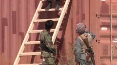 Soldiers In Front Of A Warchtower Afghanistan - stock footage