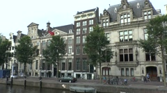 View along the exclusive Golden Bend, Herengracht, Amsterdam, Netherlands. Stock Footage
