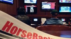 People playing horse racing gambling game Stock Footage