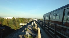 Skytrain commuter rail system at yvr airport station Stock Footage