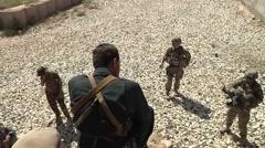 US Afghan Soldier Speak In Camp - stock footage