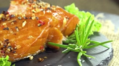 Salmon fillet (seamless loopable) Stock Footage