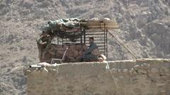Afghan Soldiers Watchtower Stock Footage