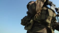 US Soldier Walk Stock Footage