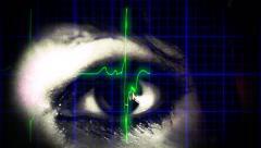 EKG heartbeat woman eye dream Stock Footage