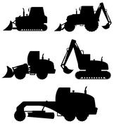 car equipment for construction work black silhouette illustration - stock illustration