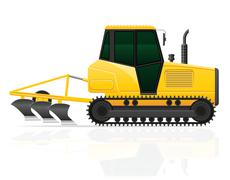 Caterpillar tractor with plow illustration Stock Illustration