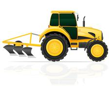 Tractor with plow illustration Stock Illustration