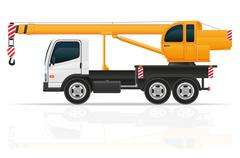 truck crane for construction illustration - stock illustration