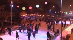 MOSCOW, RUSSIA. 04 JAN 2014: Recreation in Gorky Park at the ice rink. Stock Footage