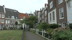 General view inside the begijnhof in Amsterdam, Netherlands. Stock Footage