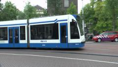 Tram in Amsterdam, Netherlands. Stock Footage