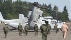 US-MARINE Osprey Aircraft AT Airbase Stock Footage