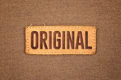 Original leather label tag Stock Photos