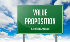Value Proposition on Highway Signpost. Stock Illustration