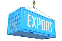 Export, Blue Cargo Container Hoisted with Hook. Stock Illustration