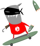 Peace monster on skate board Stock Illustration