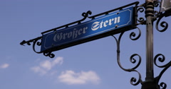Establishing Shot City Location Street Sign Grosser Stern Central Square Berlin Stock Footage