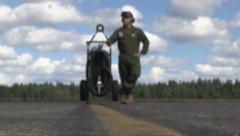 US-MARINE Standing On Airfield - stock footage