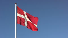 The Danish flag in wind gusts in slower motion Stock Footage