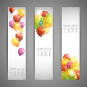 Stock Illustration of set of holiday banners with multicolored balloons