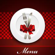 Restaurant menu design with plate and silverware Stock Illustration