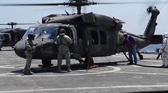 US-Army Helicopter training on sea Stock Footage