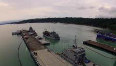 US-Navy Ship docking and upload Stock Footage