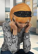 Stressed schoolgirl Stock Illustration