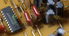 Vintage Old Technology Aged Electronic Board Outdated Obsolete Resistors Circuit Stock Footage