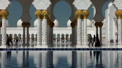 Stock Video Footage of The United Arab Emirates city of Abu Dhabi 016 Sheikh Zayed Mosque archways