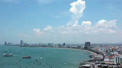 Timelapse 1080p: Panorama view of seascape at Pattaya bay, Thailand Stock Footage