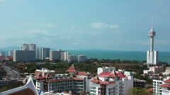 Panorama view of Pattaya city and Gulf of Siam, Thailand Stock Footage