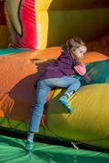 bouncy castle on a folk festival - stock photo