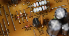 Aged Electronic Components Outdated Yellow Board Closeup Old Circuits Background Stock Footage
